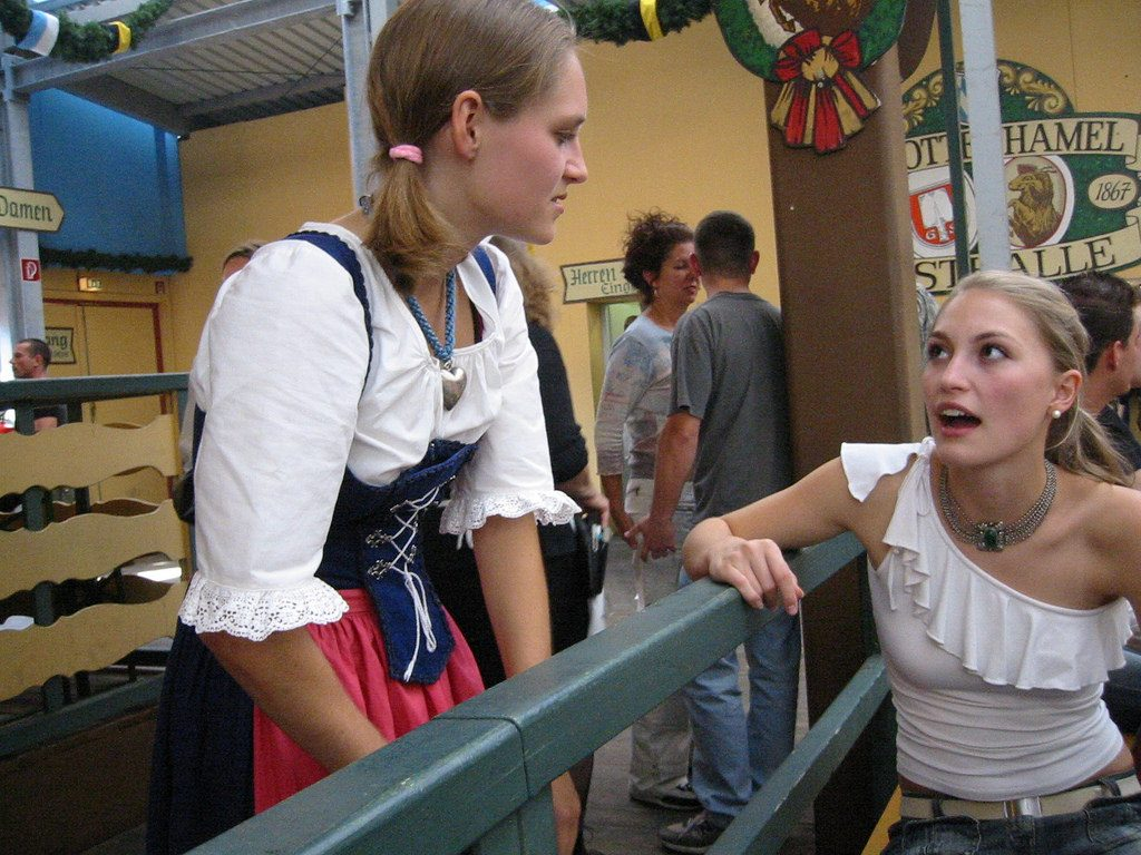 Girls wearing traditional drindl
