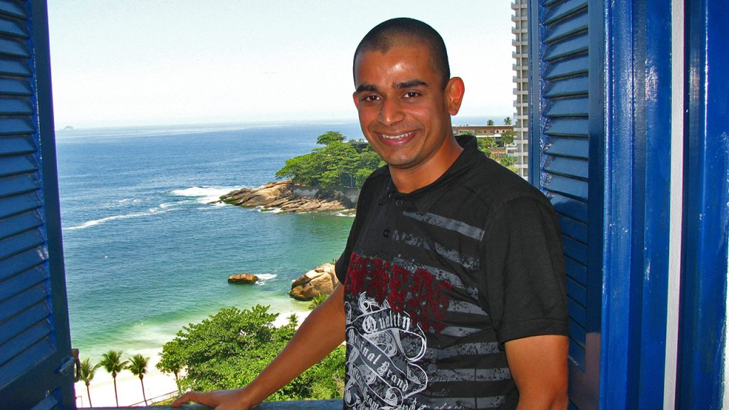 me, by the window with a magnificent view of Vidigal beach